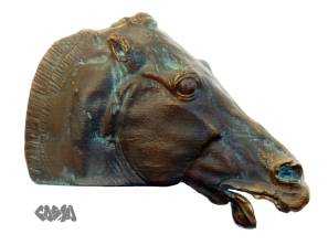 Head of a horse of Selene in Epic Bronze. A well maintained, lightly patinaed outdoor bronze, its muzzle polished bright where people have pet it as they would a real horse.