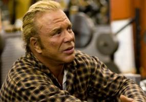 Mickey Rourke is shown in a scene from The Wrestler.