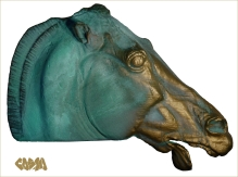 2013 Parthenon Head of a Horse of Selene 3D printed and Finished in Patinated Brass by Cosmo Wenman