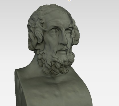 Bust of Homer, solid view, captured at the Skulpturhalle Basel by Cosmo Wenman