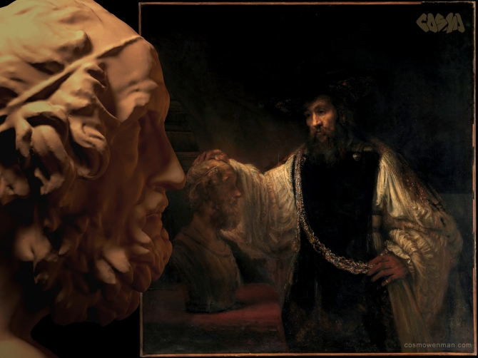 20140722 Homer Contemplating a Rembrandt of Aristotle with a Bust of Homer_by Cosmo Wenman (2400x1800)